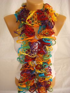 Hand knitted colorful ruffled scarf by ARZUS by Arzus on Etsy, $18.90