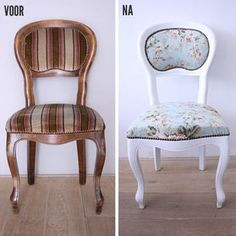 DIY stoeltje VOOR en NA - the best before and after tutorial i've seen! Recycled Furniture, Refurbished Furniture, Shabby Chic Furniture, Furniture Update, Furniture Makeover, Cool Furniture, Furniture Design, Vintage Interiors, Cool Chairs