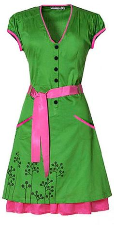 A tribute to the 60s housewife.  http://ecouture.dk/kleider-1/pang-green.html?___store=gb&___from_store=gb  SHIRT WAIST DRESS IN ORGANIC COTTON