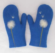 $43 felted wool mittens in royal blue with dandelion design, 100 percent handmade, made to order. $43.00, via Etsy.