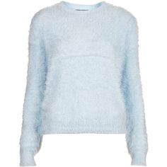 TOPSHOP Knitted Fluffy Crew Jumper (€36) ❤ liked on Polyvore featuring tops, sweaters, jumper, shirts, pale blue, shirt sweater, crewneck sweaters, crew neck jumper, blue crewneck sweater and blue crew neck sweater