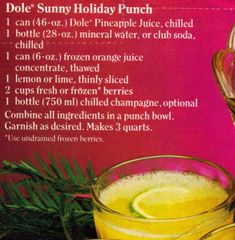 Dole Sunny Holiday Punch Recipe Clipping