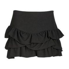 Black tiered mini skirt   Jupe à volants MAJE