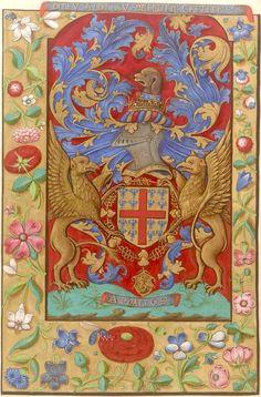 Armoiries de Montmorency, avec le cri «Dieu aide au premier cretien», et la devise «Aplanos». (f°1v) -- «Livre de prières, avec les Sept psaumes de la pénitence», France, XVIe s. [BNF Ms Fr. 19246]