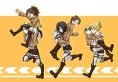 Levi and Hanji, Eren and Mikasa and my favorite Annie and Armin