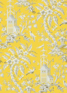 Pagoda Garden Wallpaper A striking wallpaper inspired by an antique French document from the 19th century, depicting a fantasy Oriental scene with gracefully arching trees, birds, and pagodas, shown in lemon yellow.