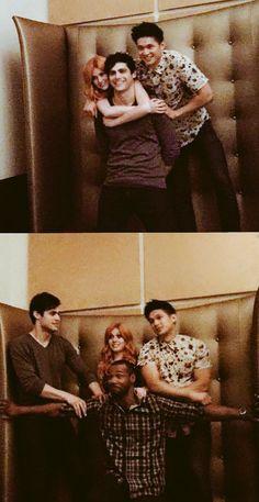 Shadowhunters ... Katherine McNamara, Matthew Daddario, Harry Shum Jr and Isaiah Mustafa as Clary, Alec, Magnus and Luke