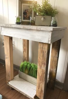White shabby Custom farm tables farmhouse nightstands nightstand entry table console sofa side console county reclaimed wood barnwood old Wooden Projects, Diy Furniture Projects, Furniture Making, Diy Projects, Farmhouse Kitchen Decor, Farmhouse Table, Diy Pallet Gift Ideas, Wood Nightstand, Nightstands