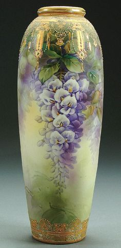 "Nippon Enameled Jewels Wisteria Decorated Porcelain Vase With All Over Painted Decoration Of Hanging Wisteria Below A Gilt Scrolled Shoulder With Enameled Jewels, Blue ""Maple Leaf"" Mark c.1900"