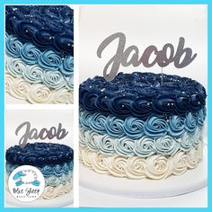 blue ombre rosette cake nj best cakes in nj Blue Birthday Cakes, 15th Birthday, Boy Birthday, Birthday Ideas, Blue Wedding Cupcakes, Ombre Rosette Cake, Buttercream Roses, Swirl Cake, Baby Shower Cakes For Boys