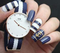 Navy Blue and Gold Nautical Nails With Anchor ⚓️.