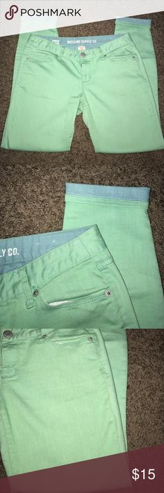 Mint green and light blue crop jeans Adorable and comfortable. Mint green and light blue inside (shown when cuffed) teeny tiny spot on front shown in third picture! Merona Pants Ankle & Cropped