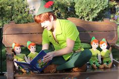 "Peter Pan reading ""Peter Pan"" to little Peter Pans :D"