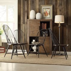 These attractive chairs feature the beauty of subtly turned legs to provide ample leg room in style. This set of four dining chairs is specifically designed to make any dining experience both stylish and enjoyable.