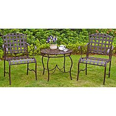 @Overstock - This three-piece Nailhead bistro set by Santa Fe features an elegant and durable steel design. Featuring a matte brown powder coat finish, this bistro set is perfect for any garden or patio setting.http://www.overstock.com/Home-Garden/Santa-Fe-Nailhead-3-piece-Iron-Bistro-Set/5084733/product.html?CID=214117 $233.99