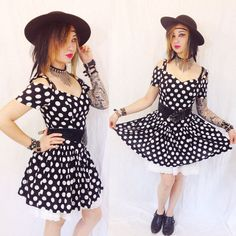 Vintage 80s GOTH DOLLY DRESS punk polka dot new wave black white mini... ($100) ❤ liked on Polyvore featuring 80s fashion