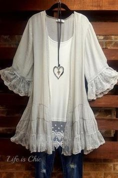 All Items – Life is Chic Boutique Ropa Upcycling, Boho Fashion, Fashion Outfits, Lace Kimono, Lace Tunic, Look Plus, Luxury Dress, Mode Outfits, Pretty Outfits
