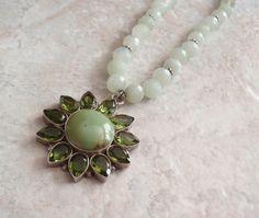 Peridot Necklace Sterling Silver Prehnite Green by cutterstone