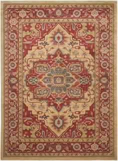 Rug: Classic Persian motifs that have graced elegant rooms for centuries are celebrated in richly colored Mahal area rugs. Power-loomed of long-wearing and easy-care polypropylene yarn Natural Area Rugs, Natural Rug, Persian Motifs, Persian Rug, Persian Carpet, Traditional Rugs, Traditional Design, Ancient Persian, Wall Carpet