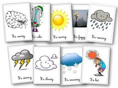 Weather Flashcards in English Teaching French, Teaching Spanish, Teaching English, English Class, English Lessons, Learn English, English Games, Educational Activities, Preschool Activities