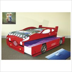 Red Car Bed With Pull Out Trundle