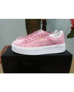 24380f413b7 Womens Puma Rihanna X Creepers Casual Shoes Suede Pink White Pink Puma Suede