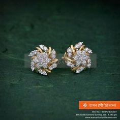 Gold Diamond Earrings, Gold Earrings Designs, Diamond Studs, Sterling Silver Earrings, Stud Earrings, Diamond Jewellery, Jewelry Patterns, Beautiful Earrings, Wedding Jewelry