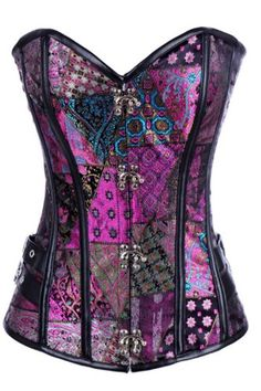 awesome Loi.color Purple Steampunk Style Corset with Stud Detail S