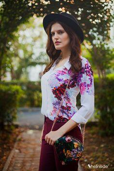 #SALE White Lapel Long Sleeve Floral Chiffon Blouse Shop the #SALE at #Sheinside