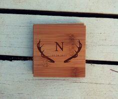 Personalized Coasters Custom Engraved Coaster Set by woodbemine