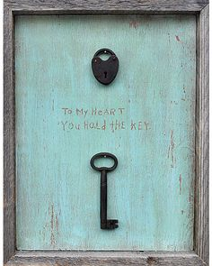 """My Grandmother carried a key on her keychain that was a key to her heart... she shared it with Grandpa.  So, one day, I asked him if I could have one too.  He had boxes of old keys, through which he searched until he found """"my key.""""  I have treasured it ever since; only sharing it with my love, Joel."""