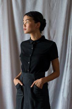 Silver Fir Merino Wool Blouse in Noir by ginnyandjude on Etsy https://www.etsy.com/listing/273305070/silver-fir-merino-wool-blouse-in-noir