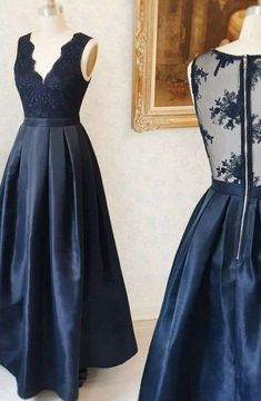 A-Line Deep V-Neck Floor-Length Navy Blue Satin Sleeveless Prom Dress with Appliques, Shop plus-sized prom dresses for curvy figures and plus-size party dresses. Ball gowns for prom in plus sizes and short plus-sized prom dresses for Gold Prom Dresses, Prom Dresses For Sale, A Line Prom Dresses, Lace Evening Dresses, Homecoming Dresses, Bridesmaid Dresses, Party Dresses, Sexy Dresses, Formal Dresses