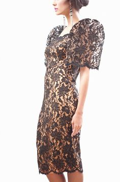 """Filipina Modern Traditional """"Terno"""" butterfly sleeve dress"""