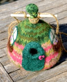 Fit for Fairies Felted Birdhouse by TheyMakeMeSmile on Etsy, $15.00