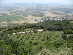 "A panoramic view from the terrace of the ""Muhraqa"" Carmelite monastery, on Mt Carmel, towards the fertile fields of the Valley of Jezrael"
