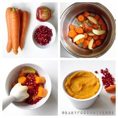 Carrot, apple & pomegranate purée.