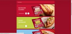 They use color to categories or divide their product and message. Snack Recipes, Snacks, Sausage, Chips, Beef, Messages, Website, Beautiful, Color
