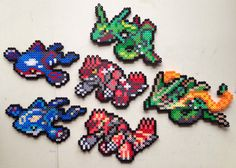 Kyogre | Primal Kyogre | Groudon | Primal Groudon | Rayquaza | Mega Rayquaza | Pokemon perler beads by MIZGVUSdesigns