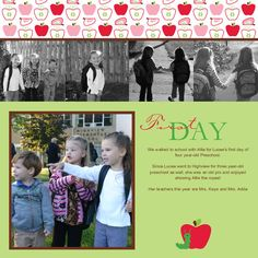 Scrapbook page - first day of school!