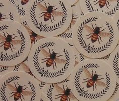 Vintage Style Stickers Envelope Seals Ivory Bee by bljgraves, $5.00