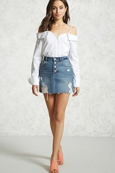 Open-Shoulder Poplin Shirt