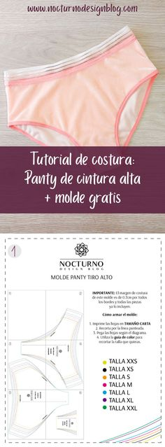 Tutorial de costura: Panty de cintura alta + molde gratis Learn how to make this high waisted or hig Sewing Patterns Free, Free Sewing, Sewing Tutorials, Sewing Lingerie, Underwear Brands, Soft Bra, Costura Diy, Amanda, Diy Clothes