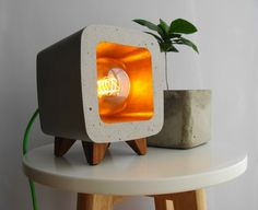 Concrete lamp night light design vintage... by Handcraftsquare