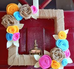 Burlap Inspiration Projects  Sweet T Studio made this bright burlap wreath for her front door. Check out her blog and she shows how she made it.