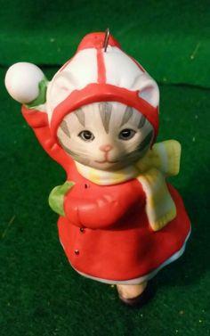 VINTAGE 1989 CHRISTMAS SCHMID KITTY CUCUMBER KITTEN CERAMIC ORNAMENT in Collectibles, Holiday & Seasonal, Christmas: Modern (1946-90) | eBay
