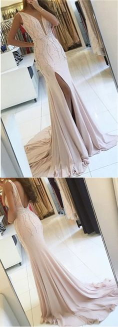 Side Slit Sleeveless V-neck Formal Evening Gown Sweep Train Two Straps Mermaid Prom Dress 2018 H1319