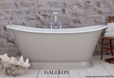 Galleon - Cast Iron Roll Top Bath Painted in Farrow & Ball Colours