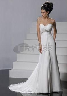 Abiti da Sposa Senza Spalline-Sexy principessa treno chiffon abiti da sposa senza spalline