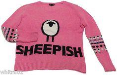 TopShop Fair Isle Sheepish Sweater Knitted Motif US 2 UK 6 EUR 34 Pink Sheep VGC